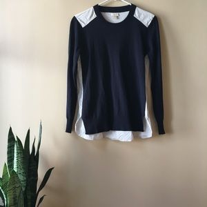 J Crew Factory Merino Wool Mixed Media Sweater